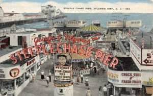 LP44  Atlantic City  New Jersey Postcard Steeple Chase Pier