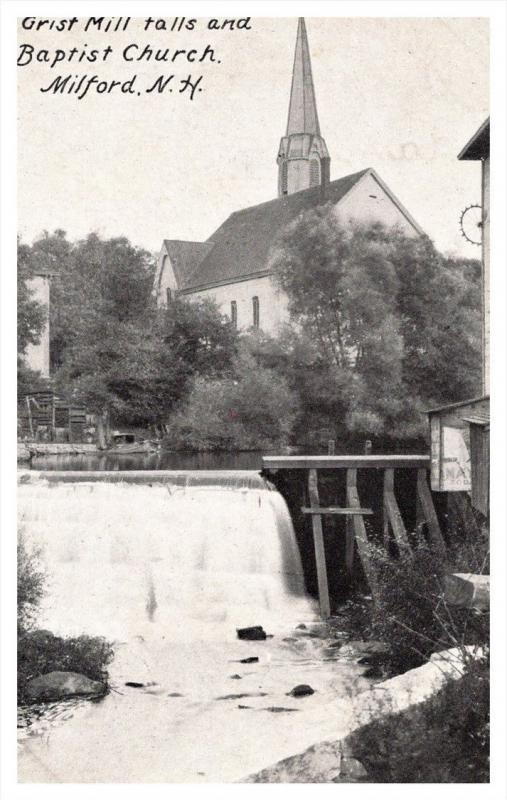 New Hampshire  Milford  Grist Mill Falls and Baptist Church