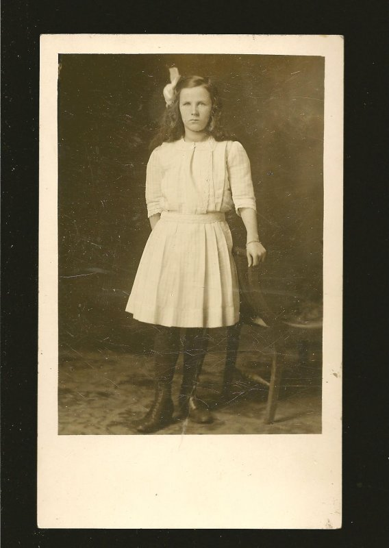 Vintage Vernon BC Photo Portrait of A Young Lady Real Photo Postcard