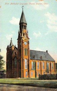 First Methodist Church, Warren, Ohio c1910s Vintage Postcard