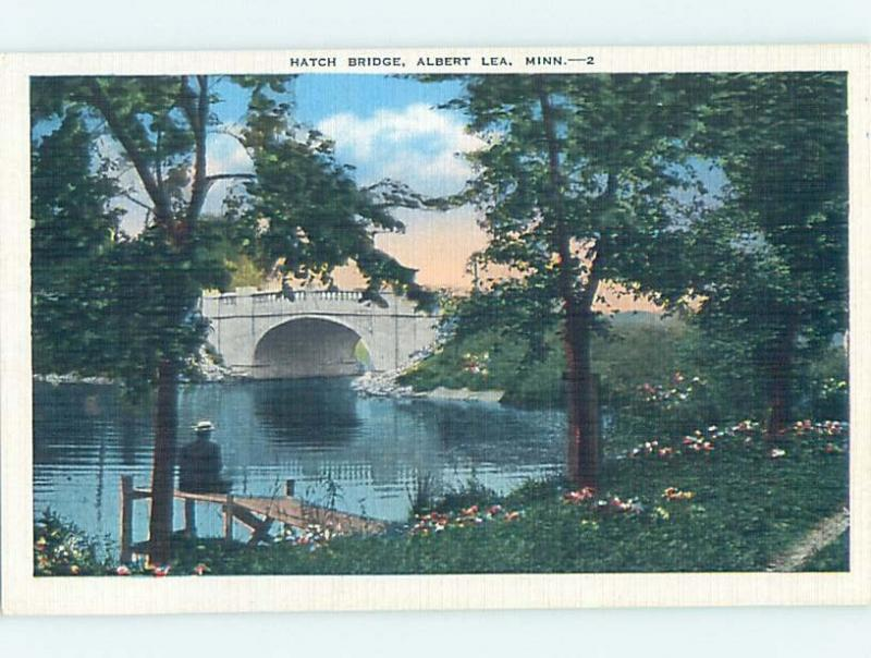 Unused Linen BRIDGE SCENE Albert Lea Minnesota MN H8142