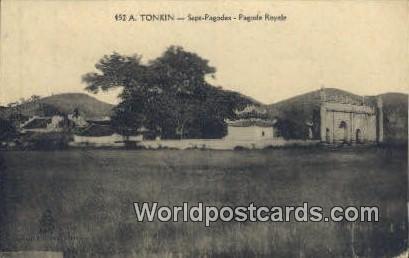 Sept Pagodes, Pagode Royale Tonkin Vietnam, Viet Nam Writing on back