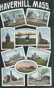 10 Scenic Views of Haverhill, Massachusetts,  Early Postcard, Unused
