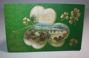 Saint Patrick's Day Postcard Embossed Raised Art Shamrock Original 1910 Germany