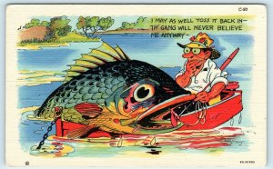 RAY WALTERS Signed FISHING COMIC Th' Gang Will Never Believe Me! 1936 Postcard