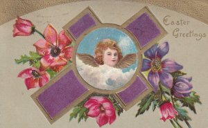 EASTER, PU-1911; Easter Greetings, Angel Portrait In The Middle Of A Purple C...