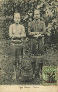british north borneo, SABAH, Native Dayak Women (1909) Postcard