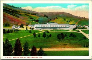 Yellowstone National Park Postcard MAMMOTH HOTEL Panorama View Curteich #YP63