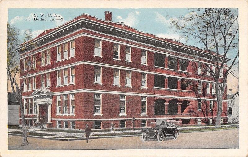 Fort Dodge Iowa~YWCA~ Cross Street~Vintage Auto~1920s Postcard ...