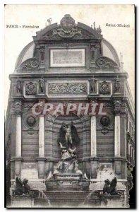 Postcard Former Paris Saint-Michel Fountain