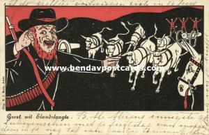 BOER WAR, Caricature, Battle of Elandslaagte, Boer Soldier British Horses (1900)