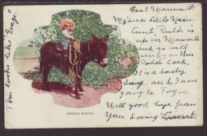 Bronco Buster,Donkey,Child Postcard
