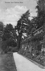 Poland Terrase vom Schloss Pless Zamek Pszczyński feldpost Postcard