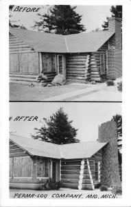 Mio Michigan~Perma-Log Housing Construction Company~Postcard RPPC c1950