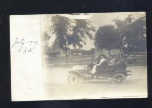 RPPC 1909 LINCOLN NEBRASKA ANTIQUE AUTO CAR AUTOMOBILE REAL PHOTO POSTCARD