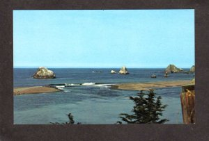 CA Russian River meets Pacific Ocean Jenner by the Sea California Postcard