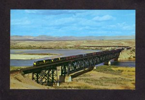 CA Santa Fe Railroad Train Railway Topock Bridge nr Needles California Postcard