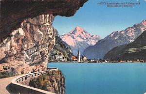 Switzerland Postcard Axenstrasse mit Fluelen und Bristenstock