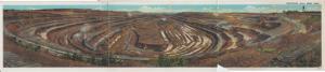 Hibbing MN - PANORAMIC TRI FOLD view of the Mahoning Hull Rust Mine, 1920s