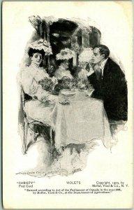 Artist-Signed H.C. CHRISTY Postcard VIOLETS Moffat Yard & Co. PMC c1905 Unused