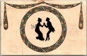 Vintage Silhouette Greetings Postcard Couple Dancing Floral Border c1910s Europe