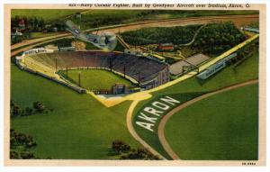 16743 OH Akron   Navy Corsair Fighter Flying Over   Rubber Bowl Stadium