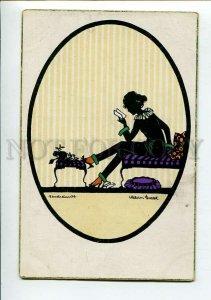 3150343 ART DECO Silhouette Belle reading Letter by GROSZE old