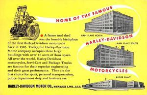 Milwaukee WI Harley Davidson Factory Motorcycle Postcard