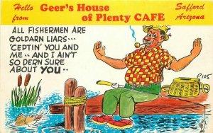 Advertising Fishing Camping Humor Geers Cafe 1950s Postcard Petley 8009