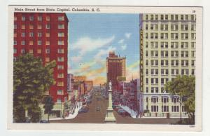 P1139 1953 linen postcard busy main street state capitol columbia south carolina