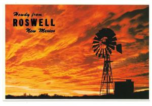 Roswell New Mexico Howdy Greetings Sunset Windmill Postcard