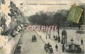 Old Postcard Perigueux Place Bugeaud and Boulevards