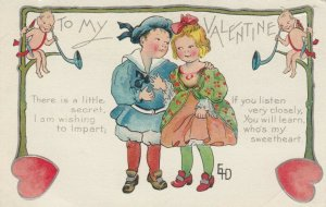AS: VALENTINE'S DAY, 1900-10s; Children Couple, Cupids, Red Hearts, Poem