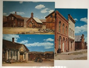 Lot 3 Ghost Town of Bodie, California Postcards w/ Main Street & Cain House