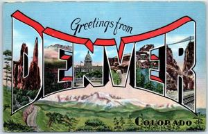 DENVER Colorado Large Letter Postcard Mountain Scene KROPP Linen c1940s Unused
