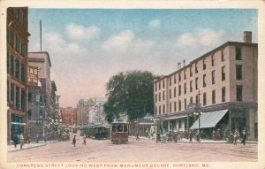 P1702 old unused postcard congress st. view trollies etc portland maine