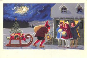 Christmas Santa Claus Purple Robed Pulling Sled Young Girls Moon Postcard
