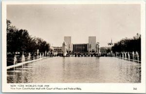 1939 New York World's Fair RPPC Photo Postcard Court of Peace & Federal Bldg