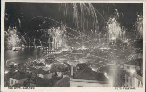 portugal, MADEIRA FUNCHAL, Ulima Noite do Ano, New Year Fireworks (1930s) RPPC