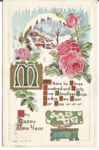 Pink Roses with Winter Cottage Scene Vintage Postcard Happy New Year