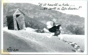 Vintage RPPC Real Photo Postcard Outhouse Humor Frasher c1940s Unused