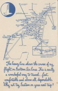 EASTERN Airlines airplane flights map , 40-50s