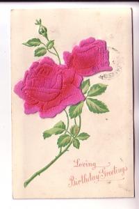 Two Felt Roses Appliqued, Silkscreened Embossed Leaves, Loving Birthday Greet...