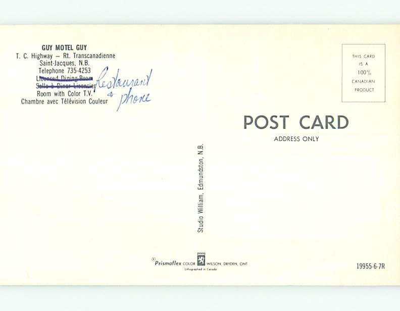 Unused Pre-1980 GUY MOTEL & RESTAURANT IN SAINT-JACQUES NB CANADA s6722