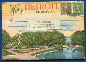 Detroit Michigan mi Lagoon Mound Belle Isle Water Works Park postcard folder #2