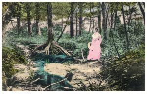 Rhode island Harrisville ,  Beautiful Woman at  Stream in Woods