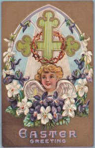 EASTER Greetings, PU-1909; Cherub Surrounded By White And Purple Flowers, Cross