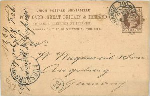 Entier Postal Stationery Postal Britain Great Britain in 1889 Liverpool to Au...