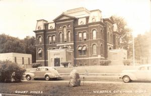 Webster City Iowa~Court House~Classic Cars~Memorial with Flag~1940s RPPC