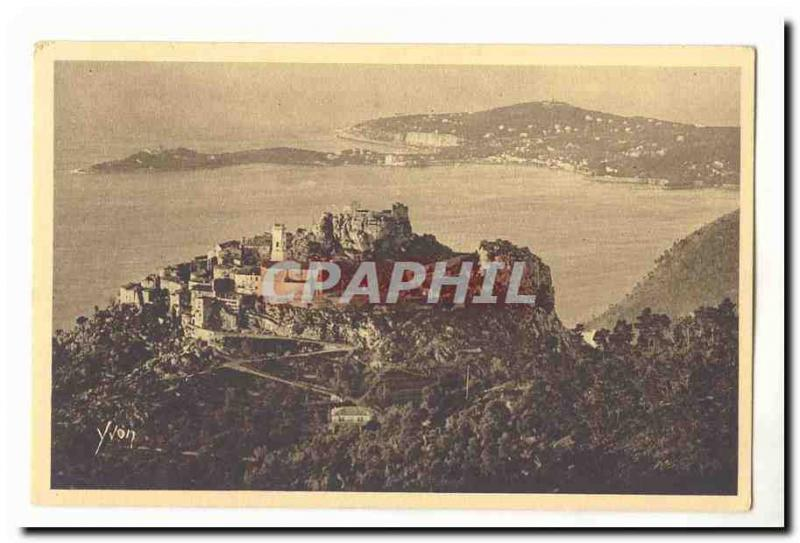 Eze Old Postcard General view of the village